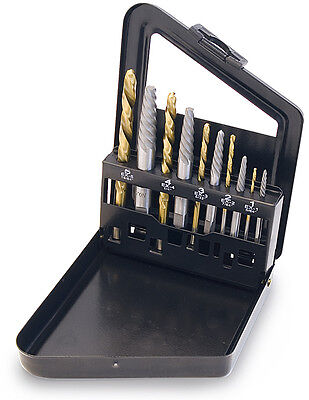 TITAN #16013: 10pc Screw Extractor and Left Hand Drill Bit Set.