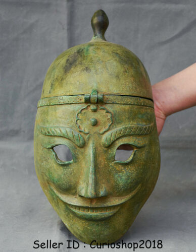 """13.2"""" Antique Chinese Bronze Ware Dynasty privates soldier casque helmet Mask"""
