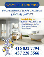 Cleaning services, GTA, starting from $25 per hour. +14372283566