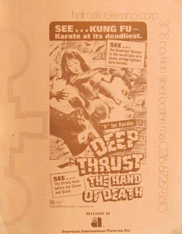 DEEP THRUST - THE HAND OF DEATH great PRESSBOOK 1973