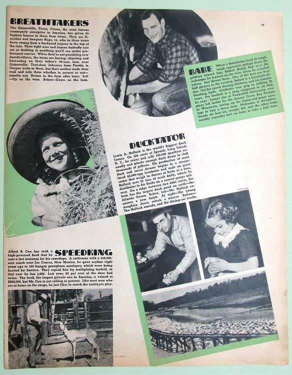 Orig 1939 Magazine Photo Article about Louis & Janet Hallock, Speonk Long Island