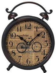 BICYCLE Newspaper Print Metal TABLE CLOCK Industrial Modern Decor