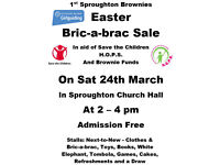 Easter Bric-a-brac Charity Sale - Sat 24th March - 2pm to 4pm