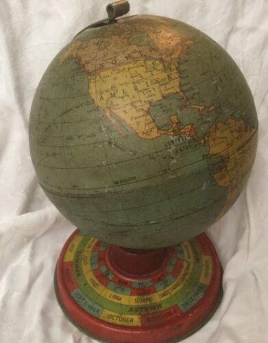 Vintage Miniature Globe Ohio Art Company 1930s  6 inch diameter Tin Lithograph