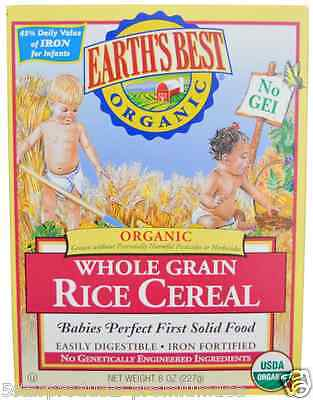 NEW EARTH'S BEST ORGANIC WHOLE GRAIN RICE CEREAL IRON SOURCE INFANTS DAILY