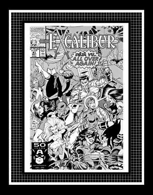 Dave Hoover Excalibur #41 Rare Production Art Cover Monotone
