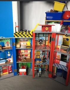 Children's wooden fire station
