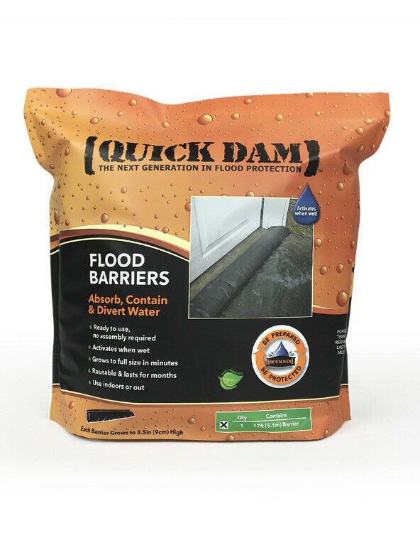 "QUICK DAM QD617-1 Water Act Flood Barrier, 6""x17ft Absorb Contain Divert Water"