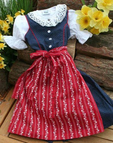 Girls Isar Trachten Dress & Apron 3 Pc Sz 124 German Oktoberfest Red Blue New
