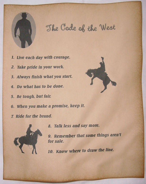 The Code of the West Poster, cowboy, western, old west, wanted