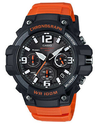 Casio Men's Chronograph Quartz 100m Black/Orange Resin Watch MCW100H-4AV