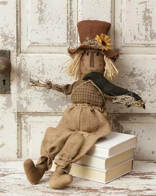 New Country Primitive Fall Rustic Halloween CROW SUNFLOWER HAT SCARECROW DOLL