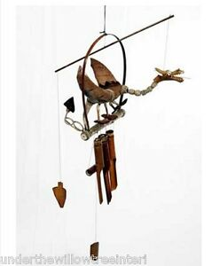 Hand Carved Wood WELSH Dragon Windchime Bamboo Garden Wind Chime Mobile