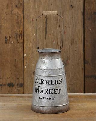 Country MILK CAN FARMERS MARKET Primitive Rustic French Farmhouse Bucket Vase