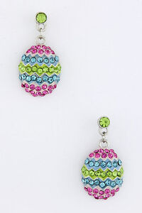 EASTER EGG MULTI-COLOR RHINESTONE EGG EARRINGS PIERCED