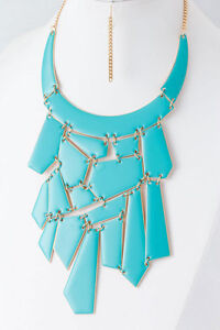 Chunky-Maxi-Collar-Turquoise-Tone-Epoxy-Link-Modern-Statement-Necklace-Set
