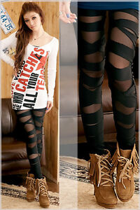 Sexy women see through leggings Fitted bandage straight Pants black tights NWT