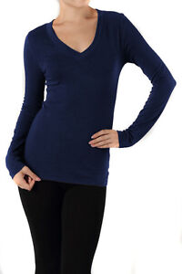 Basic V NECK Long Sleeve Fitted Womens Solid Top Plain T Shirt S M L