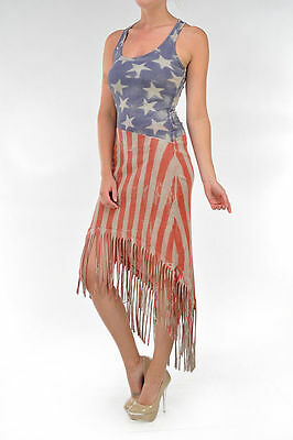 T-PARTY AMERICAN FLAG FRINGE HIGH LOW (American Flag Attire)
