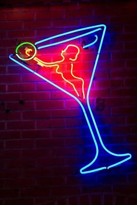 New Martini Glass Live Nude Girl  Bar Pub Wall Decor Neon Light Sign 24