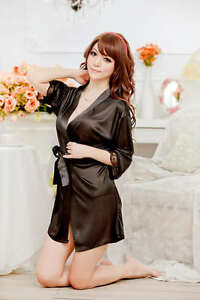 Sexy Lady Satin Lingerie Chiffon Sleepwear Nightdress Robe Gown G-string Night