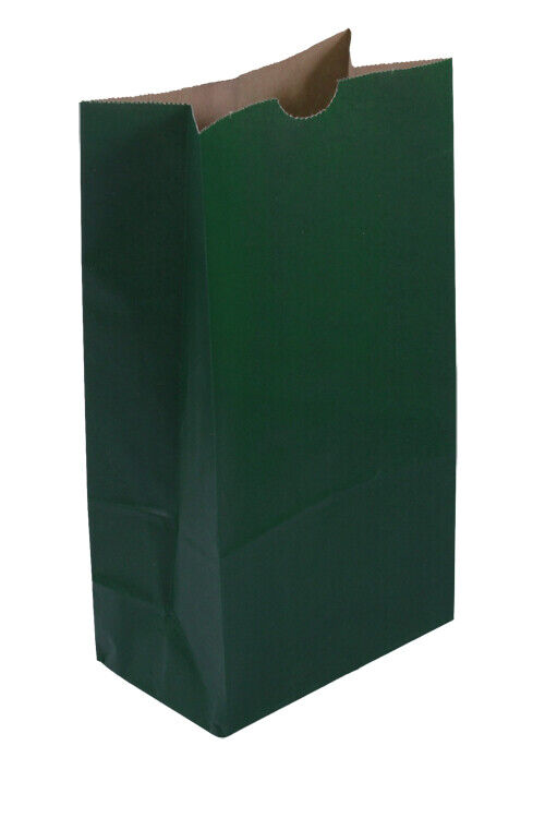 **Closeout Price** 500 Medium Dark Green Paper Lunch Bags - 8# SOS