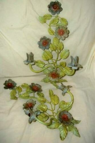 ITALIAN TOLE CANDLE SCONCES FLORAL CHIPPY WONDERFUL ORIGINAL EARLY MID CENTURY