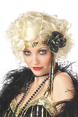1920's Jazz Baby Curly Flapper Costume Blonde Wig Twenties 20s Fancy Dress  NEW - Baby Flapper Costume