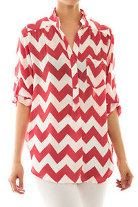 Chevron Stripe Chiffon Zigzag Print Womens Blouse Top Tunic Shirt  S, M, L