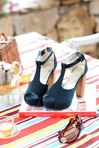 Sexy-Womens-Shoes-Pumps-Platform-T-Strap-High-Thick-Heel-Sandals-AU-SE
