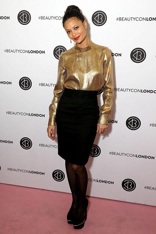 Thandie Newton wears a statement gold top