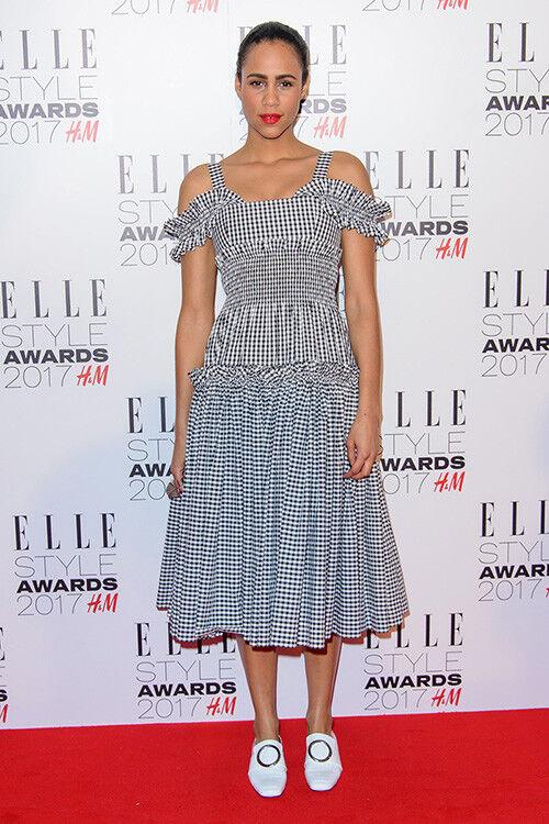 Zawe Ashton wears a bardot gingham dress