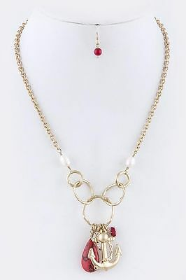 D22 Textured Gold Metal Circle Link Natural Red Stone Pearl Anchor Necklace