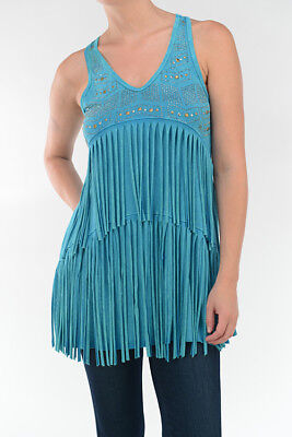 T-PARTY Jade Mineral Wash Bejeweled Long Fringe Western Rodeo Tunic Tank Top  ](Western Parties)