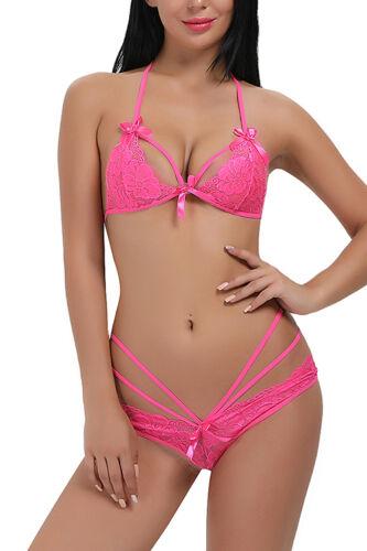 c0e8a6ba5d079 Women Sexy Lace Bra And Panties Set Open Cup Lingerie bra Babydoll Bodysuit  New