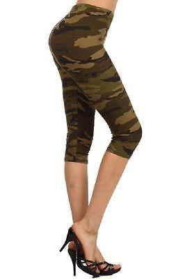 Camo Print Capri Yoga Leggings One Size Capri Print Leggings