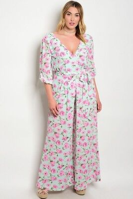 Mint Green And Pink (Women's Plus Size Mint Green and Pink Floral Wide Leg Jumpsuit 3X)