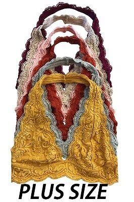 Plus Size Halter Lace Bralette Bra Floral lace V Neck Tank Top  XL XXL