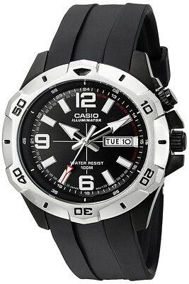 Casio Men's Super Illuminator Analog Black Resin Watch MTD1082-1AV