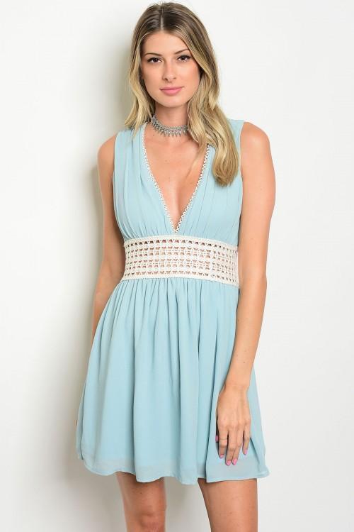 Baby Blue Sundress ~Vestido Azul claro y vestido de marfil