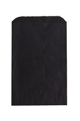 100 Black Paper Bags 6.25 x 9.25 Inches, Flat Pinch Bottom; Embellish Favors ETC