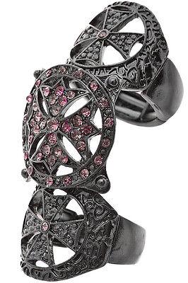Ring Cross Pewter Purple Rhinestone Encrusted Women Sexy Jewelry US Seller New