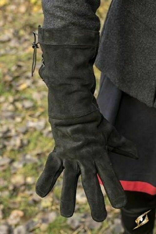 Swordsman Medieval Suede Leather Gauntlet Gloves Larp SCA Cosplay Renaissance