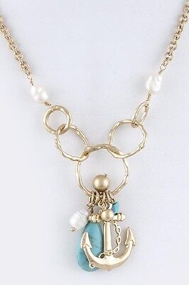 D22 Textured Gold Metal Circle Link Natural Green Stone Pearl Anchor Necklace