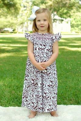 Damask Baby Girl Clothes (Fine Baby Girls Damask Easter Spring Bishop Dress with Pink Smocking)