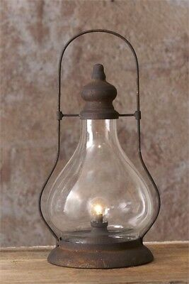 LED LANTERN TIMER Primitive Farmhouse Black Rusty Vintage Look Hurricane (Hurricane Night Lights)