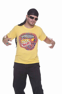 Old School Hip Hop Shirt Yellow Rapper 80's Dress Up Halloween Costume Accessory - 80 Hip Hop Clothes
