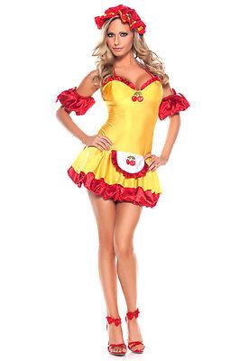 Sexy 4-piece Sweet Cherry Tart Women's Halloween Costume. M/L](Sweet Tart Halloween Costume)