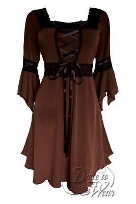 Dare to Wear Victorian Gothic Plus Size Renaissance Corset Dress in Walnut (Gothic Formal Wear)