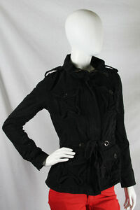 YAG-Couture-Medium-90-Black-Silver-Sparkles-Crest-Skull-Back-Jacket-Coat-NWT